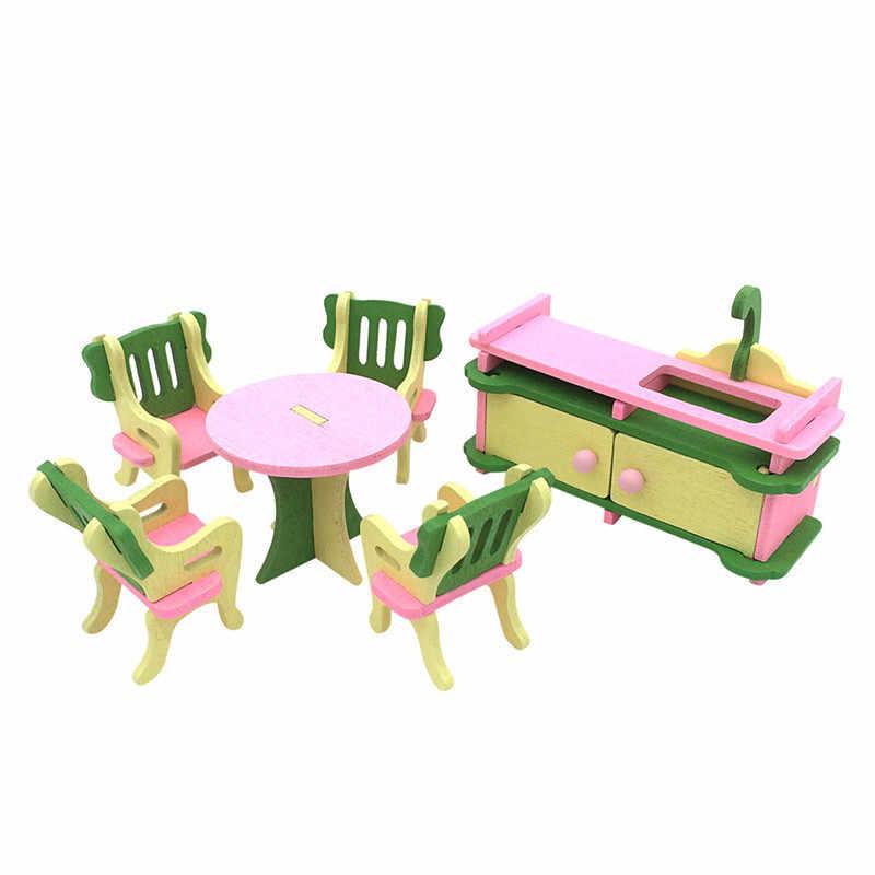 Quente-1 conjunto de móveis de casa de bonecas de madeira do bebê casa de bonecas em miniatura criança jogar brinquedos presentes #12