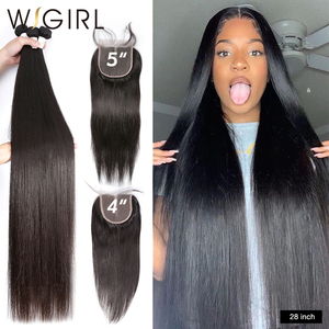 Wigirl Straight 28 30 32 40 Inch 3 4 Peruvian Hair Weave Bundles With 4X4 Lace Closure Remy Human Hair Weaves For Black Women