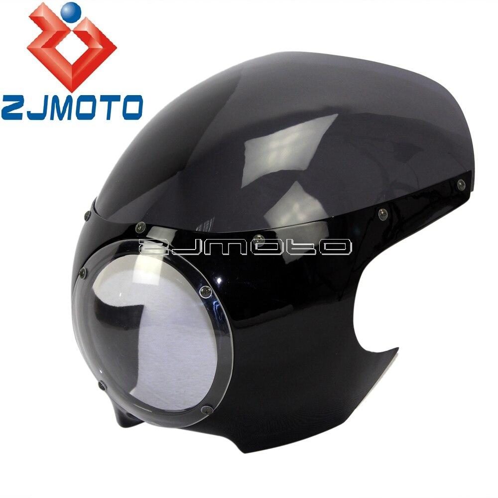 """Мотоциклетный головной светильник обтекатель маска передний светильник козырек 5 3/"""" головной светильник обтекатель для Sportster 883 1200 Dyna 39 мм вилка - Цвет: Glossy Black Smoke"""