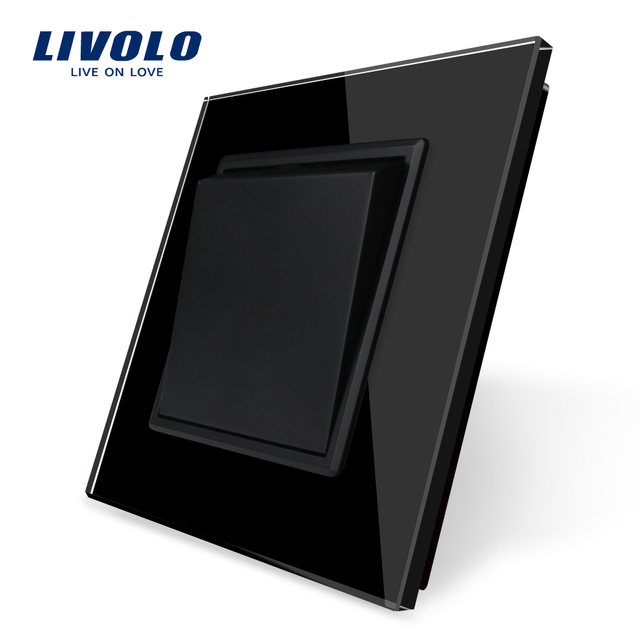 Fabricante Livolo, panel de cristal negro de lujo estándar de la UE, interruptor de botón de 1 vía, almohadilla kek, sin logotipo