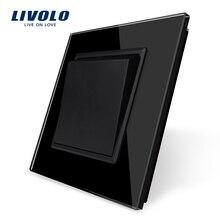 Livolo producent standard ue luksusowy czarny panel ze szkła kryształowego, 1 przyciskowy przełącznik, podkładka kek, bez logo
