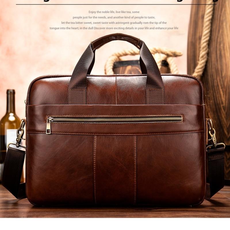2019 Men's Briefcase/bag Of Leather Messenger Bag Men's Genuine Leather Bag Men Vintage Laptop/office Bags For Men Handbags 8523