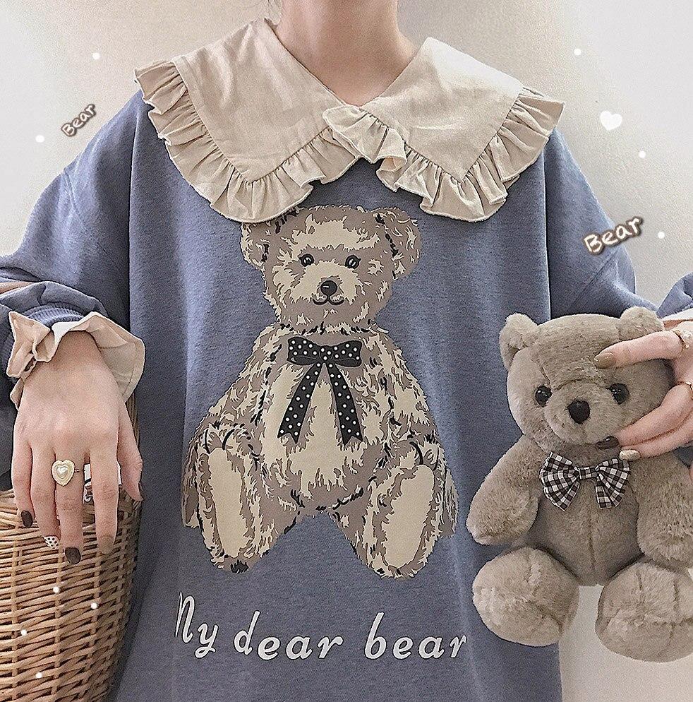 Harajuku Blue Kawaii Hoodie Women Lolita Printed Girl Sweatshirts Japanese Cute Baby Bear Anime Graphic Vintage Anime Pullovers