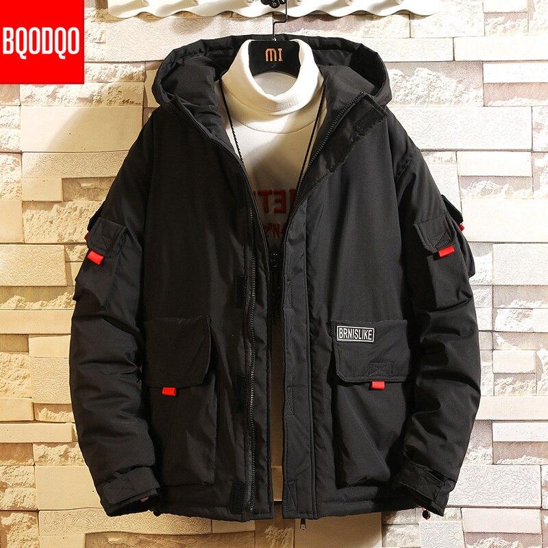 Hooded Military Silk-Like Cotton Jacket Parka For Men Zipper Winter Japan Loose Coat Hip Hop Streetwear Thermal Men's Clothing