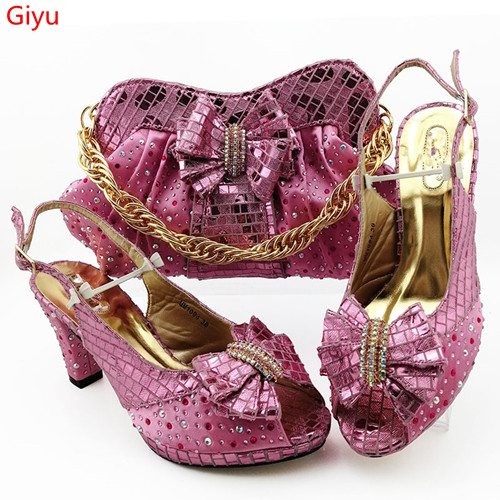 Doershow  Italian Pink Shoes And Bags To Match Set Nigerian Shoes And Matching Bag African Wedding Shoes And Bag Set!HBZ1-13