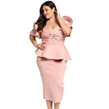 Plus Size5XL Dresses Women Tiered Sleeve Short Sleeve Elegant Party Twisted Peplum Dress Modern Lady Women Club Office Dresses