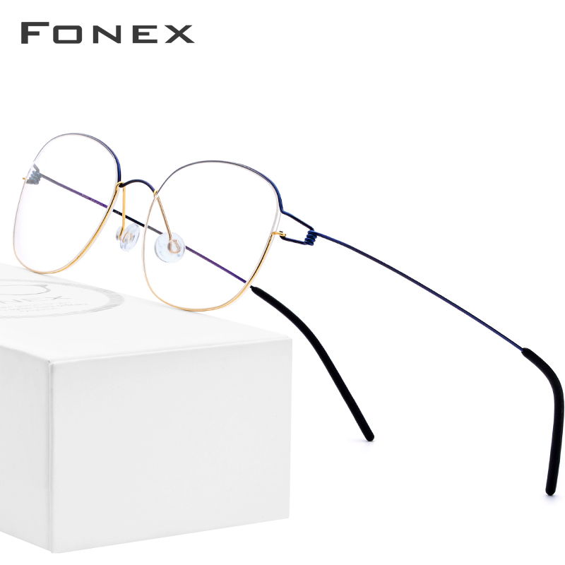 FONEX Titanium Alloy Glasses Frame Men Prescription Eyeglasses Korean Denmark Women Myopia Optical Frame Screwless Eyewear 98618