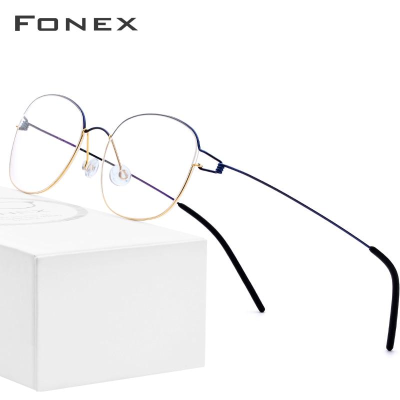 FONEX Titanium Alloy Glasses Frame Men Prescription Eyeglasses Korean Denmark Women Myopia Optical Frame Screwless Eyewear 98618