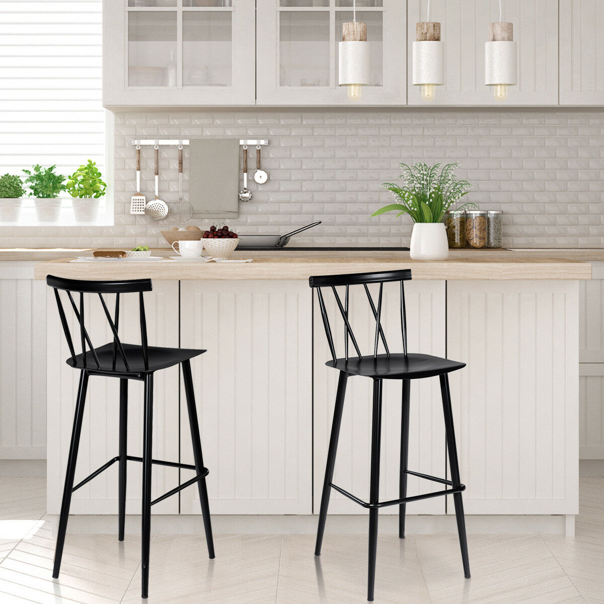 Costway Set Of 2 Steel Bar Stool Dining Chairs Armless Cross Back Kitchen Bistro Caf