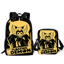 HaoYun 2PCs/Set Children's Fashion Backpack Bendy and the Ink Machine Kids School Bags Cartoon Teens Shoulder Book-Bags Mochila