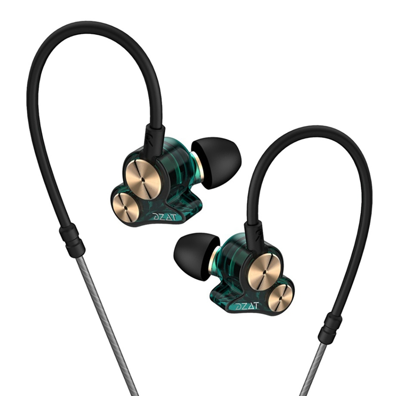 ABKT-Dzat Dt-05 Double Dynamic Subwoofer Headphones In-Ear Mobile Phone Universal K Song Hanging Ear Sports Music Headphones(Wit image