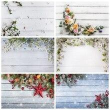 Yeele noel ahşap tahta çiçek duvar bebek fotoğraf arka plan vinil fotoğraf Backdrop fotoğraf stüdyosu Photozone gıda için