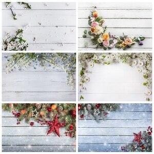 Image 1 - Yeeleクリスマス木製ボード花壁ベビーの写真撮影の背景ビニール写真背景写真スタジオphotozone食品