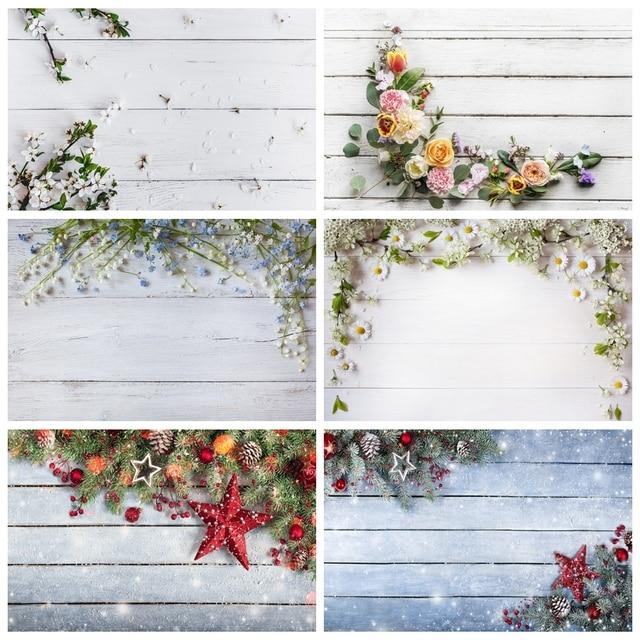Yeeleクリスマス木製ボード花壁ベビーの写真撮影の背景ビニール写真背景写真スタジオphotozone食品