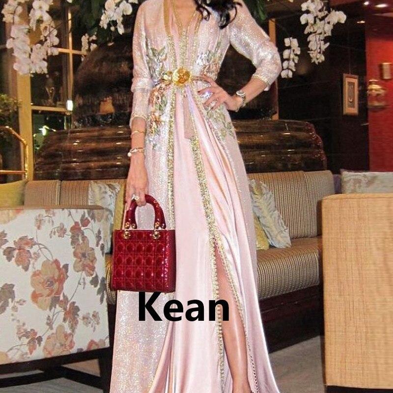 New Pink Moroccan Kaftan Mother Of The Bride Dresses 3D Lace Evening Dress Vestido De Renda Groom Mother Formal Party Dress