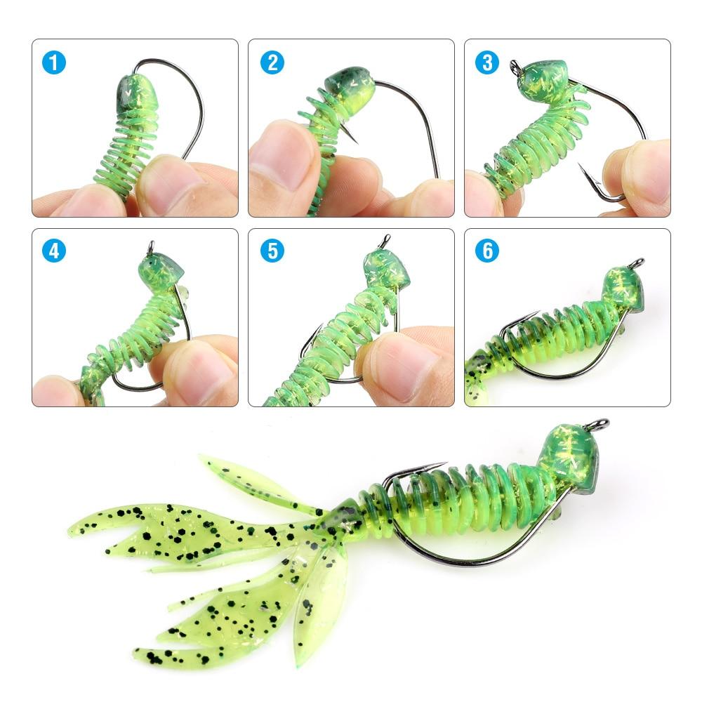 DONQL 20Pcs Soft Fishing Lure Artificial Rubber Worm Bait 2.4g 75mm Silicone Jig Wobbler Swimbait 10pc Fishhook Lure accessories001 (7)