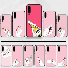 Red nails Luxury Pink Hands Phone Case Cover Funda For Huawei P9 P10 P20 P30 Lite 2016 2017 2019 plus pro P smart(China)