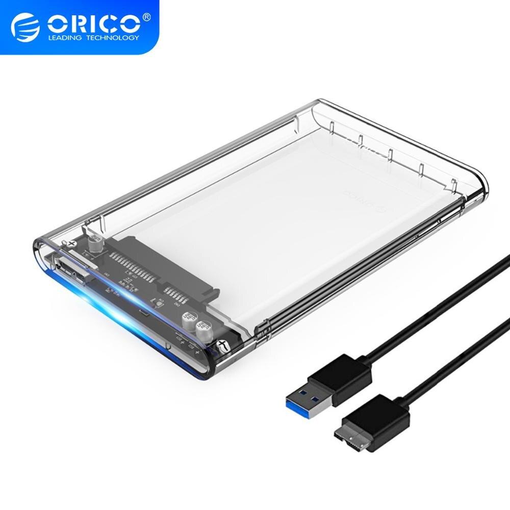 Футляр для внешнего жесткого диска ORICO 2,5 дюйма, прозрачный чехол для жесткого диска USB3.0 Type C, бесплатная доставка, 5 Гбит/с, 4 ТБ, UASP, корпус для ...