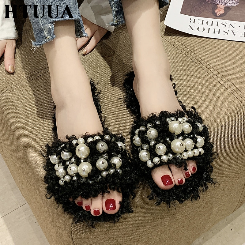 HTUUA Fur Slippers Flat-Shoes House Pearl Furry Winter Fashion Women Indoor Autumn SX3148