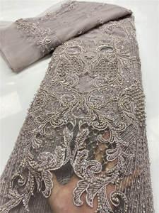 Lace-Fabrics Handmade Wedding-African Beaded Tulle Nigerian High-Quality YA3554B-3