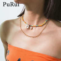 PuRui Bohemian Shell Pendant Choker Necklace Evil Eye Colorful Beads Necklace Gold Color Chain Necklace Women Statement Jewelry