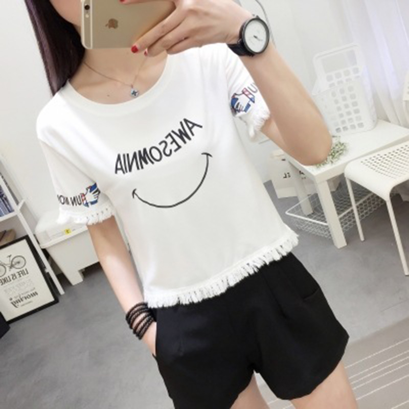 2019 New T Shirt Women Summer Cropped Top Short Sleeve Shirts Korean Version Casual Female Hot Sale