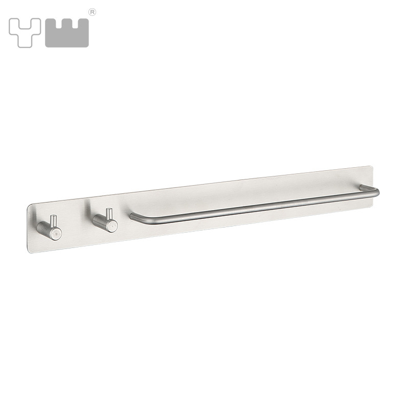 Yun wang Towel Bar Cross Border Seemless Adhesive 304 Stainless Steel Towel Bar with Solid Double Hook New Style Towel Rack