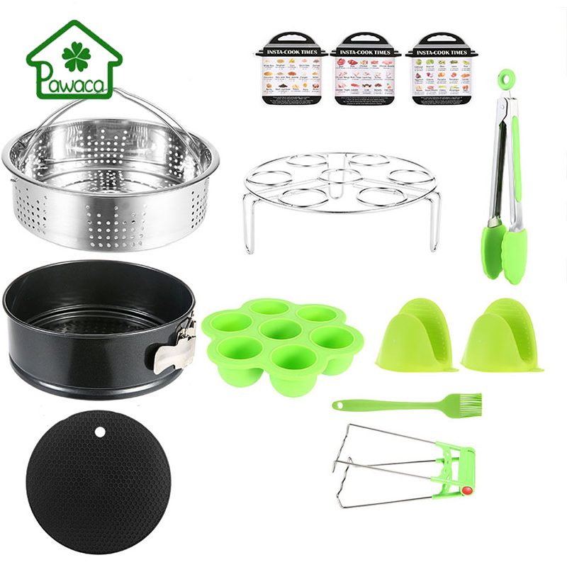 Pawaca 8Pcs 304 Stainless Steel Steamer Set Home Eggs Racks Steamer Basket Silicone Gloves Cake Mould Kitchen Cooking Tools