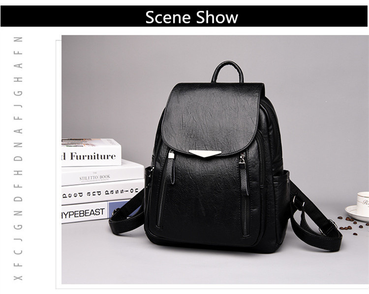 Hb90f4f0dbfa64f0d961fc0399abcd52eH - Women Backpack PU Female backpacks Vintage Leather School Bags Large Capacity School Bag for Girls Double Zipper Shoulder Bags