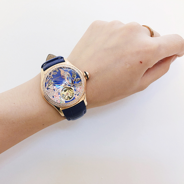 Reef Tiger/RT Blue Dial Fashion Watches for Women Leather Strap Waterproof Automatic Watches Diamond Tourbillon Watch RGA7105 Accessories Jewellery & Watches