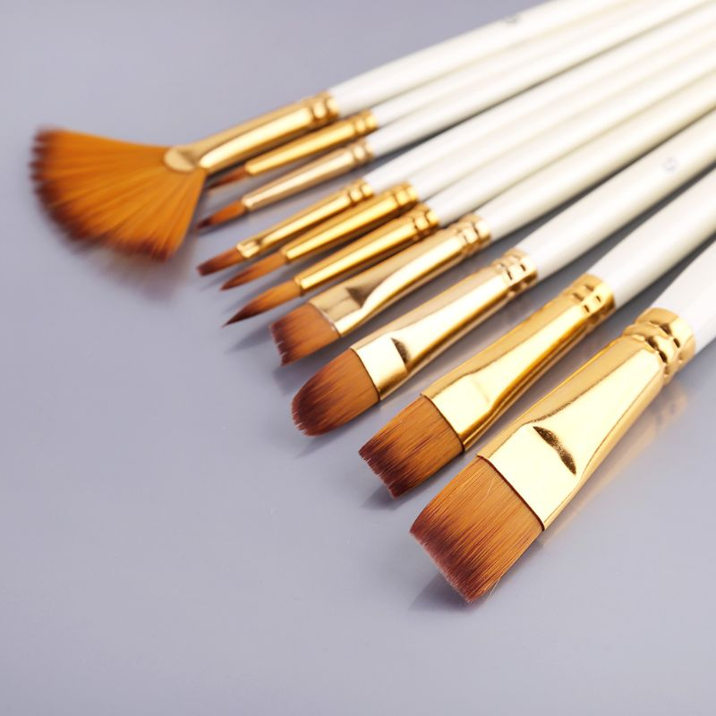 10pcs Paint Brushes Watercolor Nylon Hair Round Filbert Angel Flat Paintbrushes