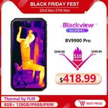 Blackview bv9900 pro câmera térmica smartphone ip68 impermeável 8gb 128gb helio p90 octa núcleo áspero quad câmera celular
