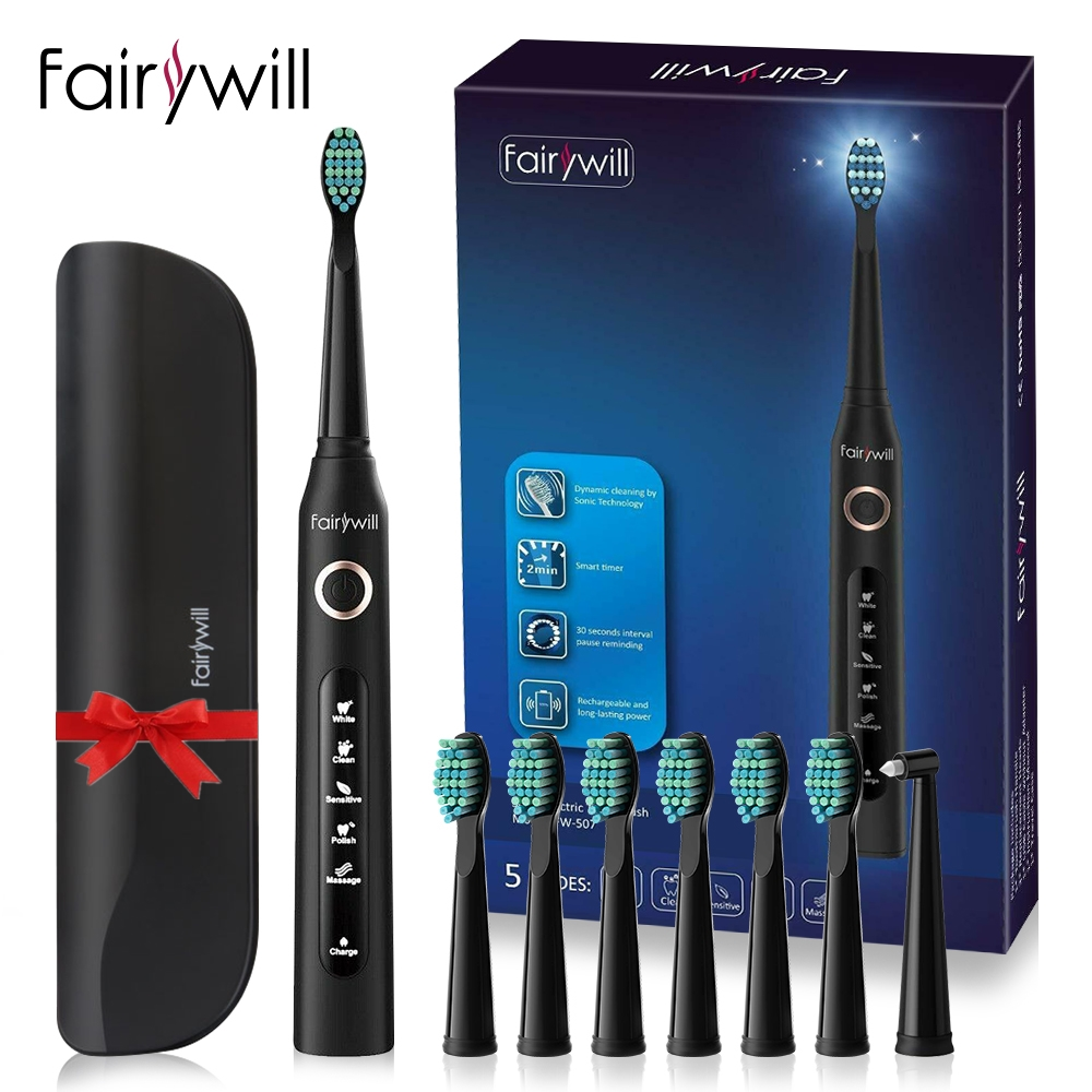 Fairywill Electric Sonic Toothbrush FW 507 USB Charge Rechargeable Adult Waterproof Electronic Tooth 8 Brushes Replacement Heads|Electric Toothbrushes|   - AliExpress