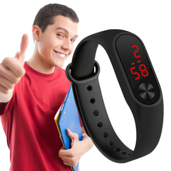 Fashion Mens Digital Watch Running Hand Ring Bracelet LED Sports Electronic Watch Silicone Strap Unisex Wrist Watch image
