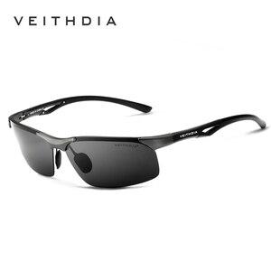 Image 1 - Мужские солнцезащитные очки VEITHDIA, алюминиевые, магниевые, без оправы, UV400, поляризационные, аксессуар для очков, 6591
