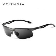 Veithdia Zonnebril Aluminium Magnesium Randloze UV400 Mannen Zonnebril Gepolariseerde Zonnebril Brillen Accessoire Voor Mannen Mannelijke 6591