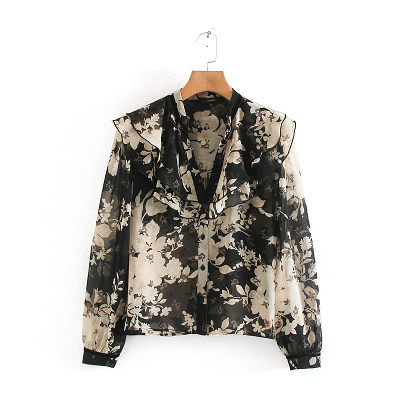 New Women Elegant Cascading Ruffles Floral Print Blouse Long Sleeve Office Lady Chiffon Shirts Casual Chemise Blusas Tops LS6007