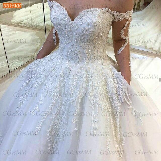 Luxury White Wedding Dresses Lace Up Appliqued Beaded Vestido De Noiva 2020 Custom Made Ball Gown Bridal Dress Long Chapel Train 3