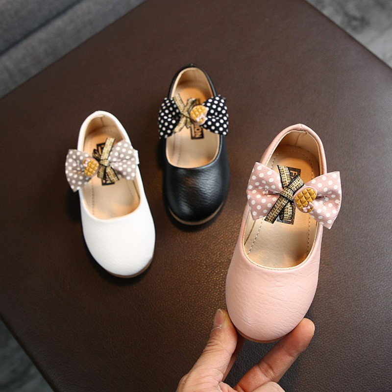 Baby Girl Shoes Princess Girls Sweet Casual Baby Kids Pu Leather Solid Crib Babe Infant Toddler Cute Bow Baby Shoes