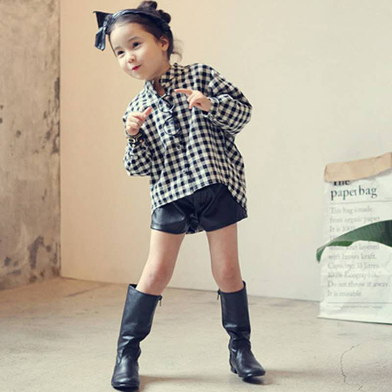 9.49US $  Long Sleeved Plaid Shirt Korean Version 2020 Spring New Girl Child Baby Single Breasted Bl...