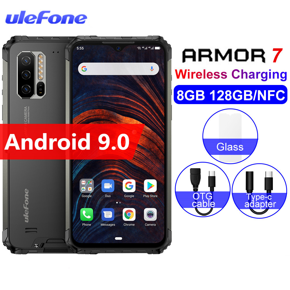 2019 Global Vision Ulefone Armor 7 IP68 Rugged Mobile Phone Helio P90 Octa Core 8GB+128GB Android 9.0 48MP NFC 4G LTE Smartphone