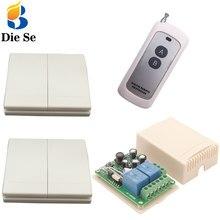 86 Panel de pared interruptor de Control remoto 433 Mhz AC 110 V 220 V 2CH RF receptor de relé 2 botones para interruptor de pared de lámpara de bombilla