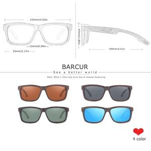 Image 2 - Barcur 正方形サングラス竹女性ブラウンウッドサングラス男性偏ヴィンテージ oculos デゾルリュネット · ド · ソレイユ