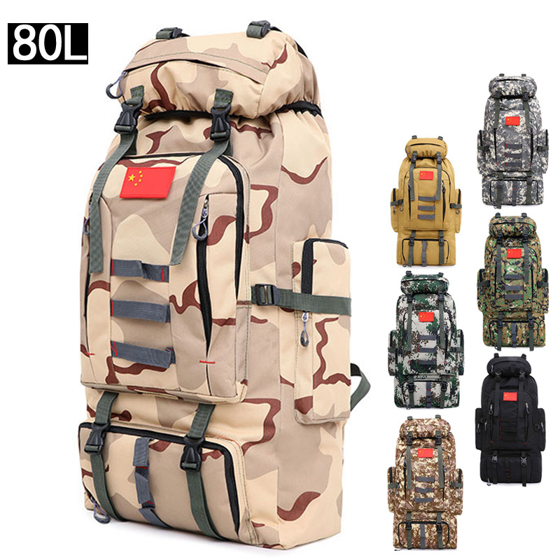 80 Liters Outdoor Backpack Women's Men Mountaineering Bag Hiking Backpack Military Training Camouflage Large Backpack Amazon Cro