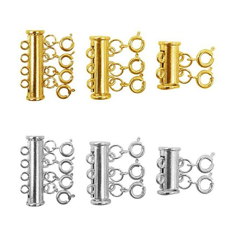 3 Strand Slide Lock Clasps Silver 10 x 20mm  5 Pcs Findings Crafts Brass Tube