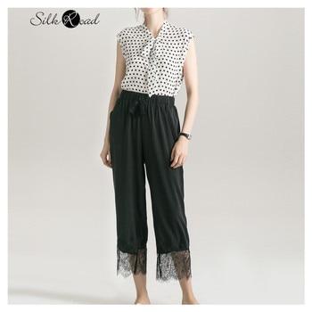 цена Silviye Silk Polka Dot fitted top women's silk ribbon shirt sleeveless vest T-shirt blusas mujer de moda 2020 онлайн в 2017 году