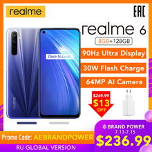 realme 6 8GB 128GB Mobile Phone Helio G90T 30W Flash Charge 4300mAh 64MP Quad Camera Global Version EU Plug Play Store NFC