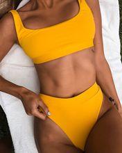 2020 wysokiej talii kostiumy kąpielowe Push Up Sexy żółty strój kąpielowy kobiety Sport Crop zestawy Bikini kobieta plażowe stroje kąpielowe brazylijskie ubrania tanie tanio Lovey Village Stałe Osób w wieku 18-35 lat Bikini set Drut bezpłatne LOVE#PX0056 WOMEN Pasuje prawda na wymiar weź swój normalny rozmiar