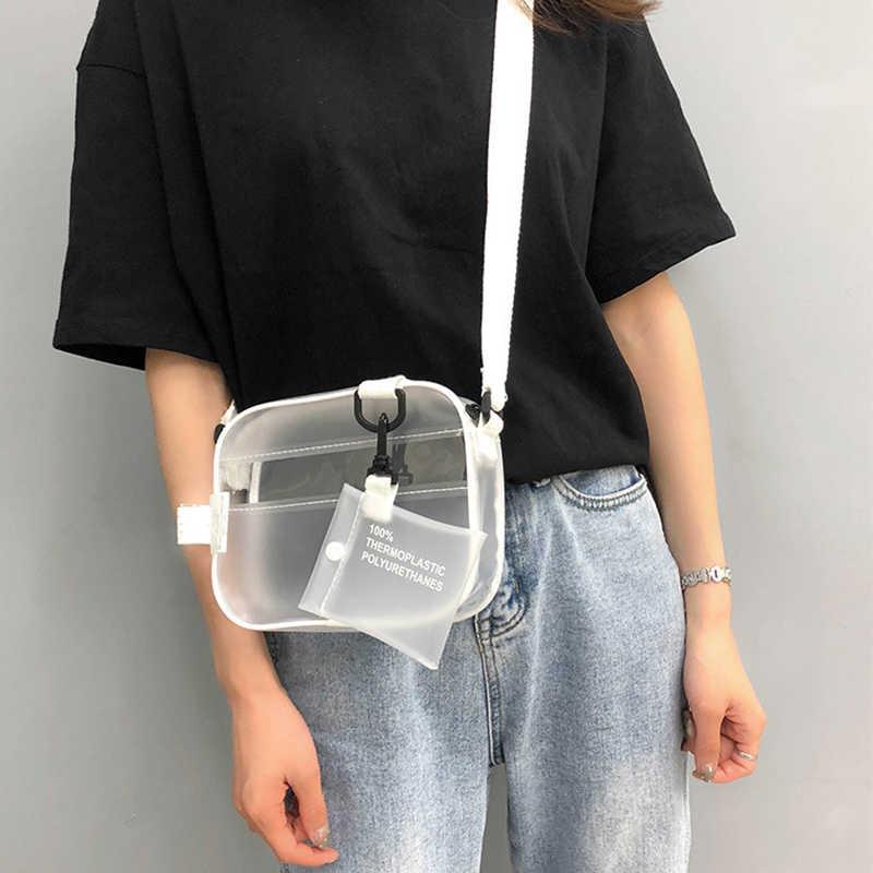 Kasual PVC Transparan Jelas Wanita Tas Selempang Tas Bahu Tas Tangan Jelly Kecil Tas Telepon dengan Kartu Pemegang Tali Lebar Flap