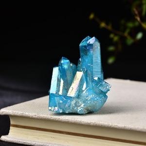 Натуральный кварцевый кристалл, Радужный титановый кластер, редкая точка для украшения дома, рукоделие, камень «Reiki» Can для заживления образцов минералов